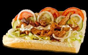 Essen bestellen: Griechisches Sandwich mit Gyros, Schafskäse und Zaziki