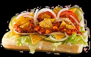 Essen bestellen: Mexikanisches Sandwich mit Chili vom Rind und Tortilla-Chips