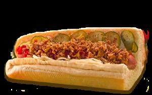 Essen bestellen: Hotdog Sub mit Röstzwiebeln (warm)
