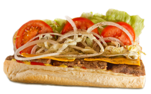 Essen bestellen: Subs-Burger mit saftigem Rindfleisch und Cheddar-Käse